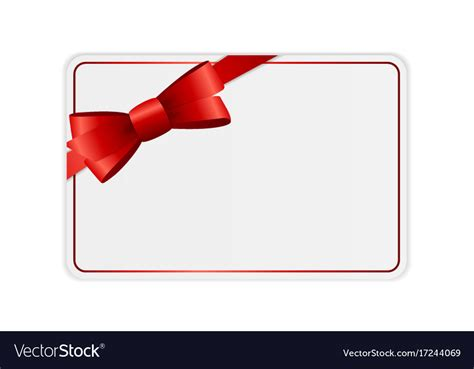 gift card image template blank gift card template with bow and ribbon vector image