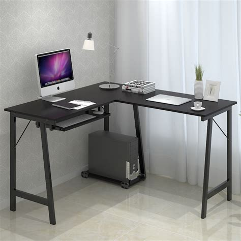 Modern Minimalist Desk Stylish Minimalist Corner Computer Desk Black Color With Keyboard Tray And Imac Minimalist