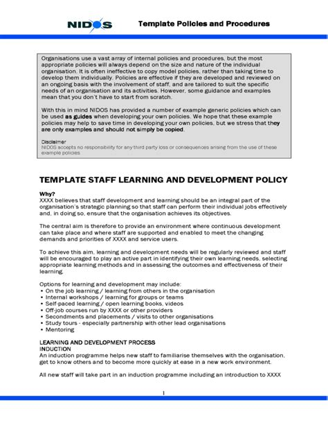 Template Staff Learning And Development Policy Free Download And Development Template