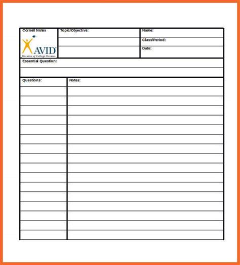 note taking template pdf cornell notes pdf sop exle