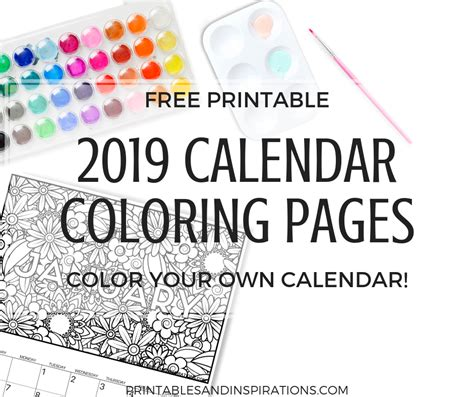 Free Printable Calendar Coloring Pages