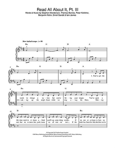 tutorial piano emeli sande read all about it read all about it part iii sheet music by emeli sand 233