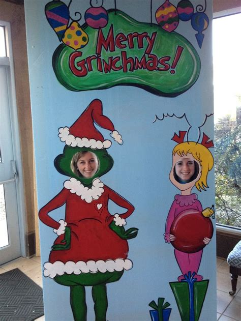 grinch christmas party props grinch photo opportunity with foam board decor image was enlarged on foam