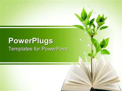 picture templates for powerpoint powerpoint template opened book with green plant growing