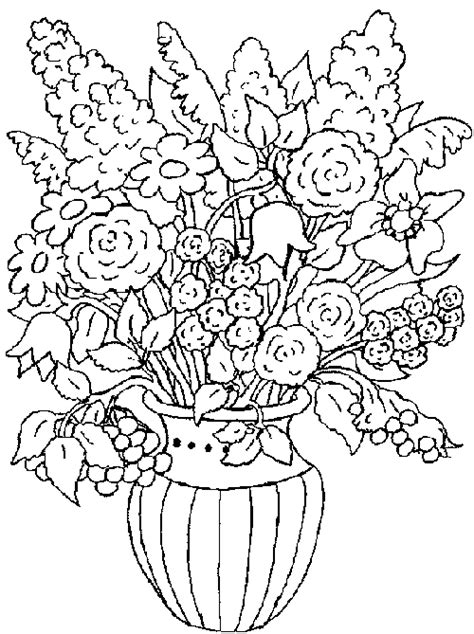 A Bouquet Of Flowers Coloring Pages For Kids Flower Bouquet Coloring Pages