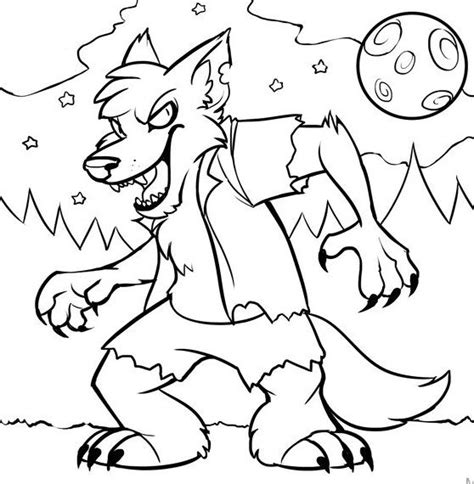 coloring pages of halloween monsters monster halloween wolf coloring pages print hallowen