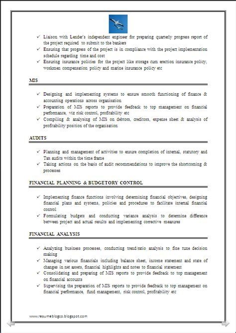 resume format for experienced accountant doc resume co resume sle of chartered accountant ca company cs 7