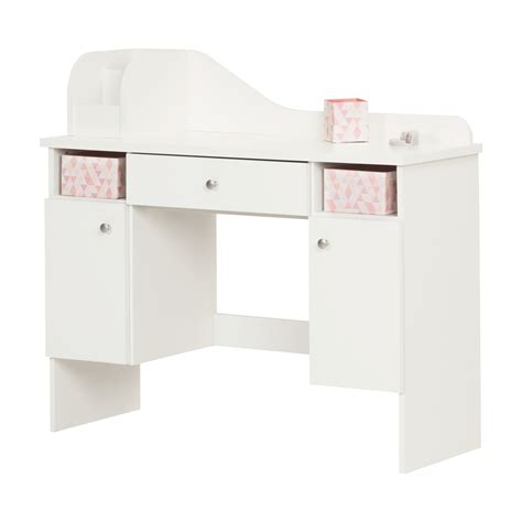 South Shore Vito Pure White Makeup Desk With Drawer White Makeup Desks