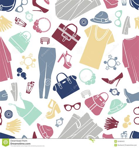 clothes pattern wallpaper fashion shopping icons seamless vector background stock