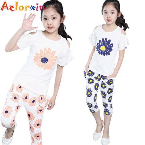 C788 Kid Cotton Fashion Set summer cotton floral t shirts flower suits clothing sets for