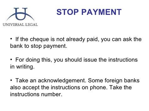 Stop Payment Request Letter To Bank Dishonor Of Cheques