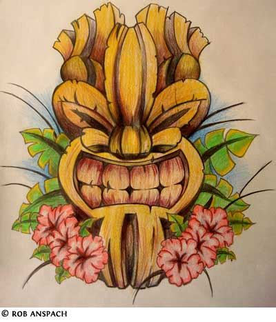 island flower tattoo designs tiki tattoos on masks wave tattoos and design