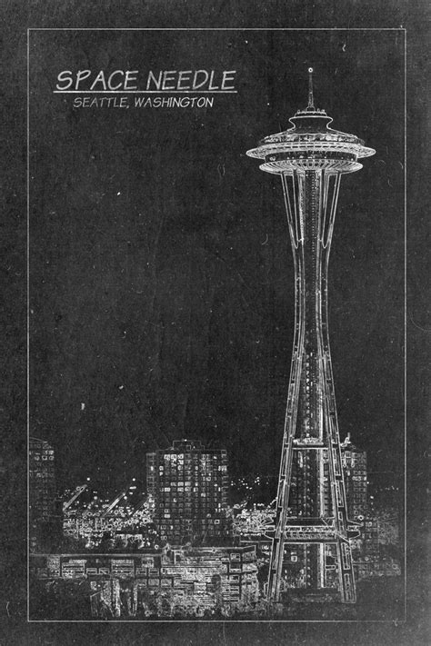 blueprint seattle space needle tower blueprint print on canvas seattle by