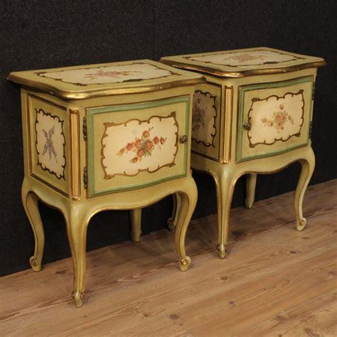 ebay mobili antichi coppia di comodini laccati tavolini dorati stile mobili