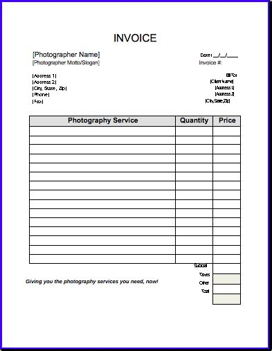 printable photography receipts search results for free blank printable invoices forms