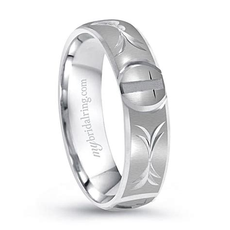 Wedding Bands With Crosses by 14k White Gold Christian Cross Wedding Band