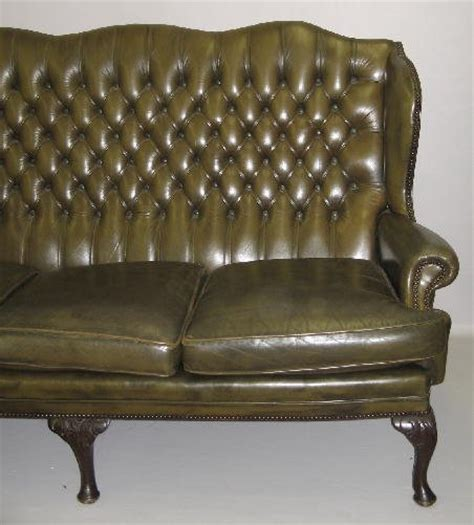 Tufted Back Leather Sofa Leather Sofa Olive Green Leather Tufted Back 1351377