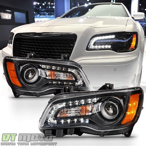 Chrysler 300 Hid Headlights by Black Factory Style 2011 2014 Chrysler 300 Halogen Led Drl