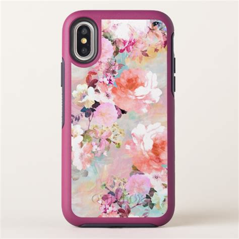 Pink Watercolor Flower Casing Iphone Oppo Samsung Custom pink teal watercolor chic floral pattern otterbox symmetry iphone x plus
