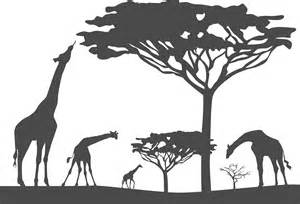 Cheetah Stickers For Wall giraffe and tree silhouette