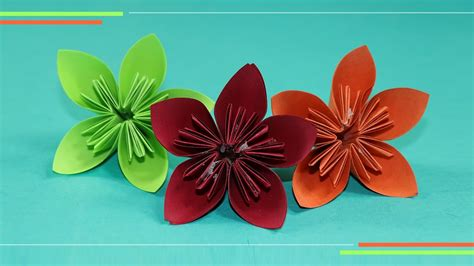 How To Make Simple Flowers Out Of Paper - origami kusudam flower how to make paper flowers easy