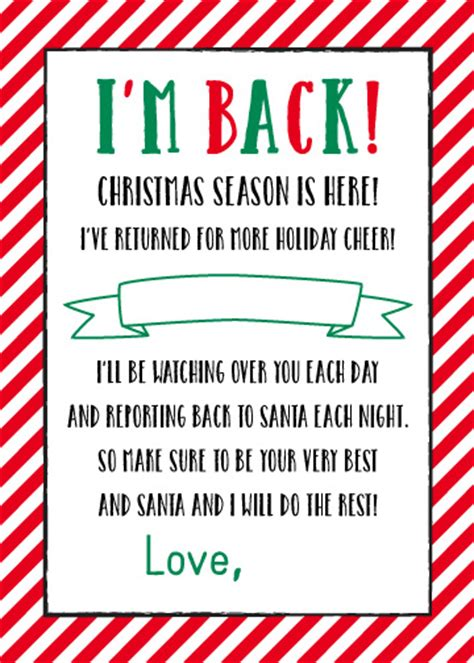 free printable elf on the shelf i m back letter history printables elf movie quotes quotesgram
