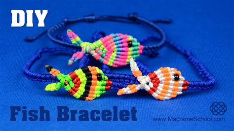 Macrame School - colorful fish bracelet tutorial macrame school