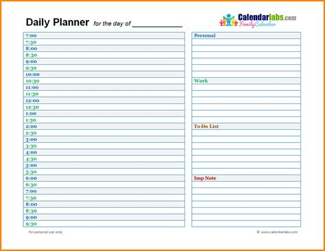 daily planner template word free day planner template word business template