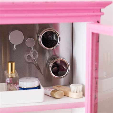 Bathroom Cabinet With Magnetic Storage Modern Bathroom Pink Bathroom Storage