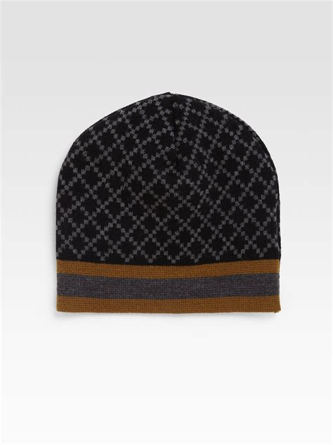 gucci knit hat gucci knit hat in brown for black lyst