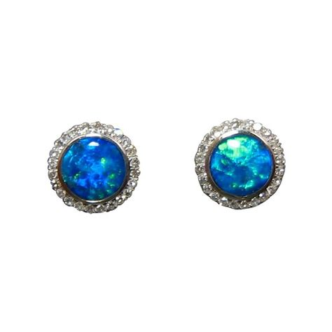 blue opal earrings blue opal stud earrings 14k opal earrings