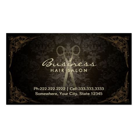 hair stylist business card templates vintage framed damask hair salon appointment business card
