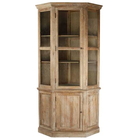 distressed wood cabinets distressed wood tall corner display cabinet