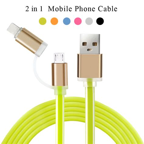 2in1 mobile phone chargers for iphone 5 5s 6 6s usb cable ios data micro usb cable for samsung