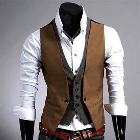 Vest Casual s casual fashion v neck layered fit vest waistcoat slim jacket tops ebay