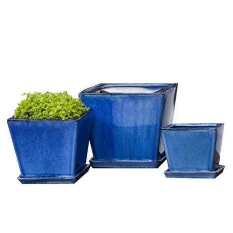 Square Ceramic Planter by Blue Square Ceramic Planter Set Williams Sonoma