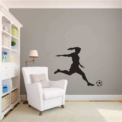 sports wall stickers for bedrooms soccer player kicking silhouette sports wall decal