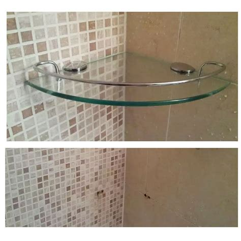 Bath Shower Corner Shelf Wall Wall Mount Tempered Glass Corner Shelf Bathroom Shower