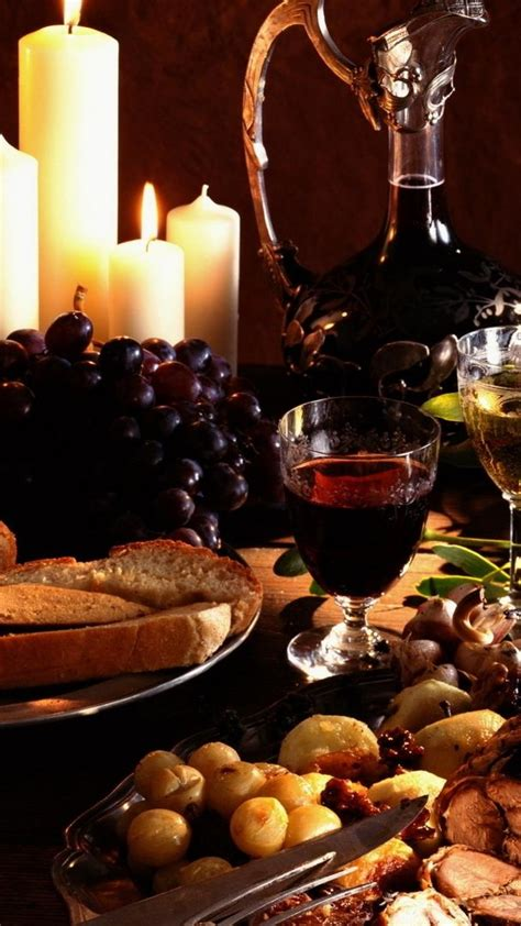 Delicious Meal Food Wine Grapes Steak Candles Android