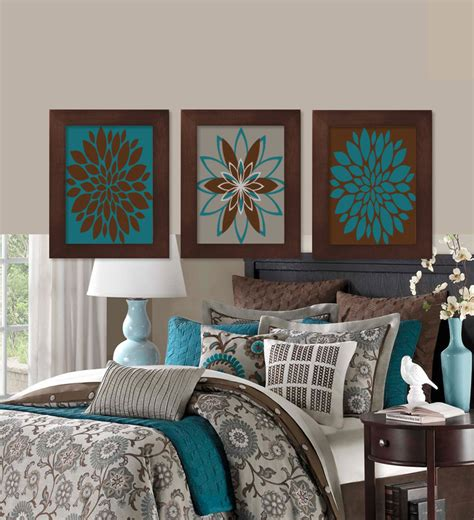 brown and teal home decor wall teal brown dahlia flower bloom by lovelyfacedesigns