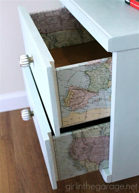 Decoupage Paint - decoupaged map table themed furniture makeover day