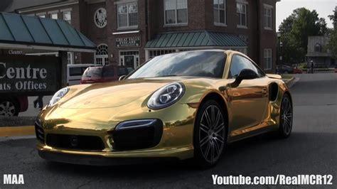 gold porsche gold porsche 911 turbo s acceleration youtube