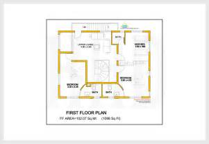 1st Floor House Plan 2172 sq feet villa 3d view and floor plan