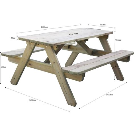 table measurements for 6 brackenstyle 6 seat pine picnic table internet gardener