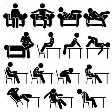 stuhl piktogramm auf sofacouch stuhl loungetisch arbeiten stellt haltungen