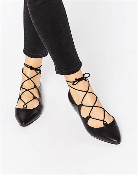 warehouse warehouse pointed ghillie lace up flat shoes