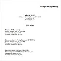 Resume With Salary History Exle by Salary History Template 6 Free Documents In Pdf Word