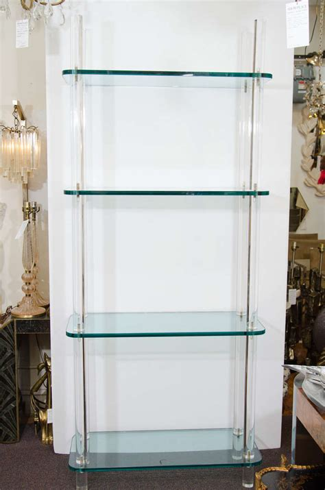 midcentury solid lucite and glass bookshelf or bookcase