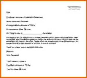 Cancellation Insurance Letter Exle 10 How To Write A Letter To Cancel A Policy Lease Template