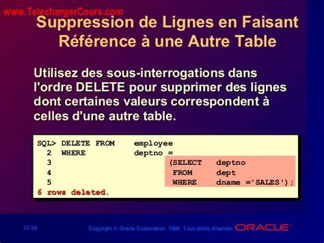 sql supprimer table manipulation des donn 233 es cours sql oracle
